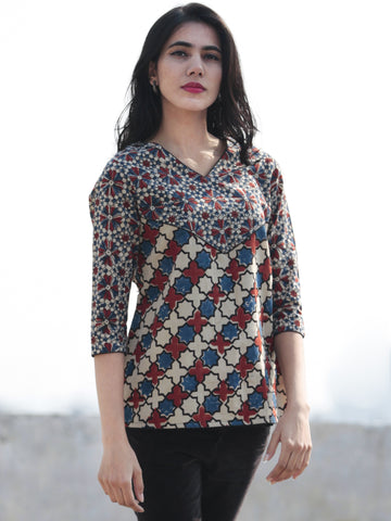 Ivory  Indigo Red Black Ajrak Block Printed Cotton  Top - T26F1163
