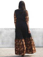 Black Rust Red White Hand Block Printed Cotton & Rayon Long Dress With Tassels - D181F1112