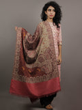 Beige Rose Pink Maroon Needle Point Embroidered Woolen Cashmere Jacquard Stole - S6317179