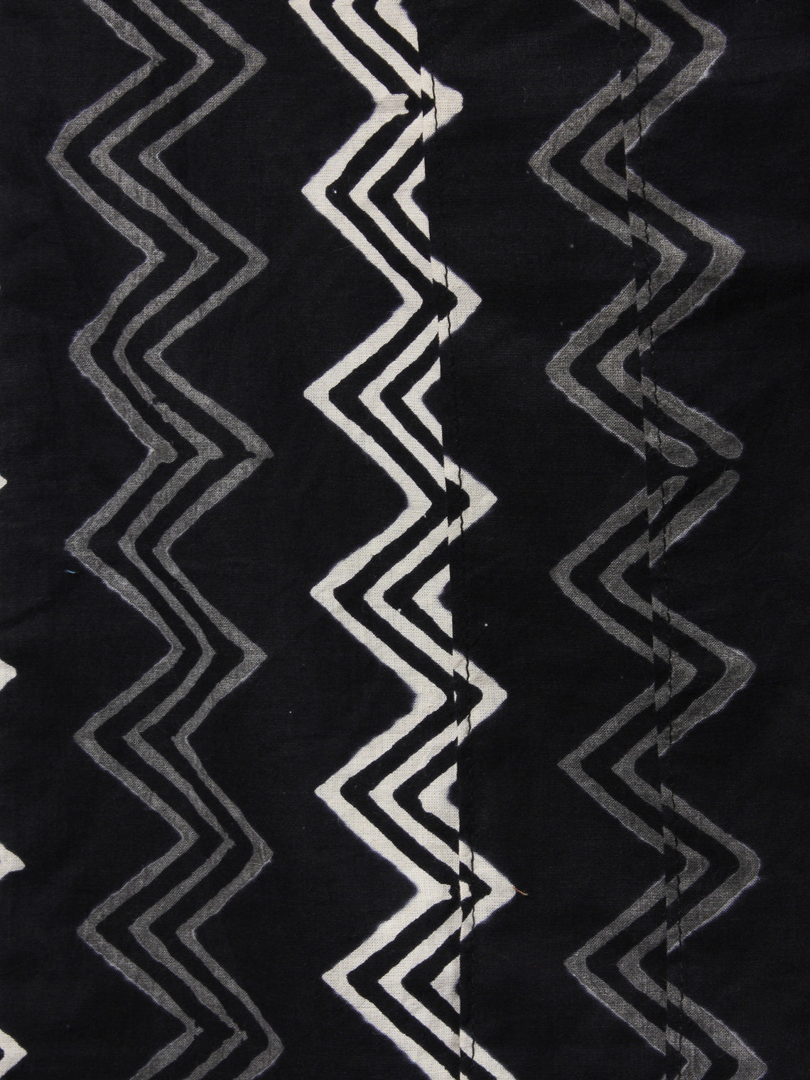 Black Zig Zag Hand Block Printed Elasticated Waist Pleated Cotton Palazzo - P1117078