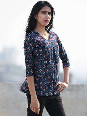 Indigo Black Rust Hand Block Printed Cotton Top - T28F441