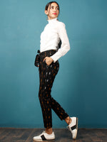Black Orange Maroon White Hand Woven Ikat Cigarette Pants With Belt- T032F730