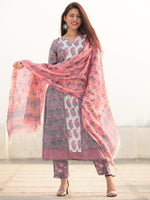 Jashn Simra - Set of Kurta Pants & Dupatta - KS80A2408D