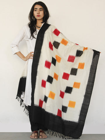 Ivory Black Red Ikat Handwoven Pochampally Cotton Dupatta -  D04170145