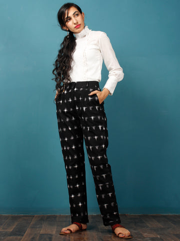 Black White Hand Woven Ikat Trousers - T032F798