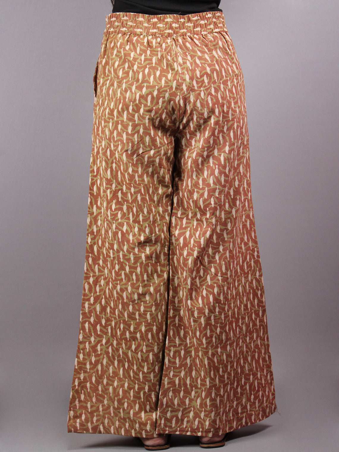 Brown and Beige Hand Block Printed Elasticated Waist Pleated Cotton Palazzo - P1117084