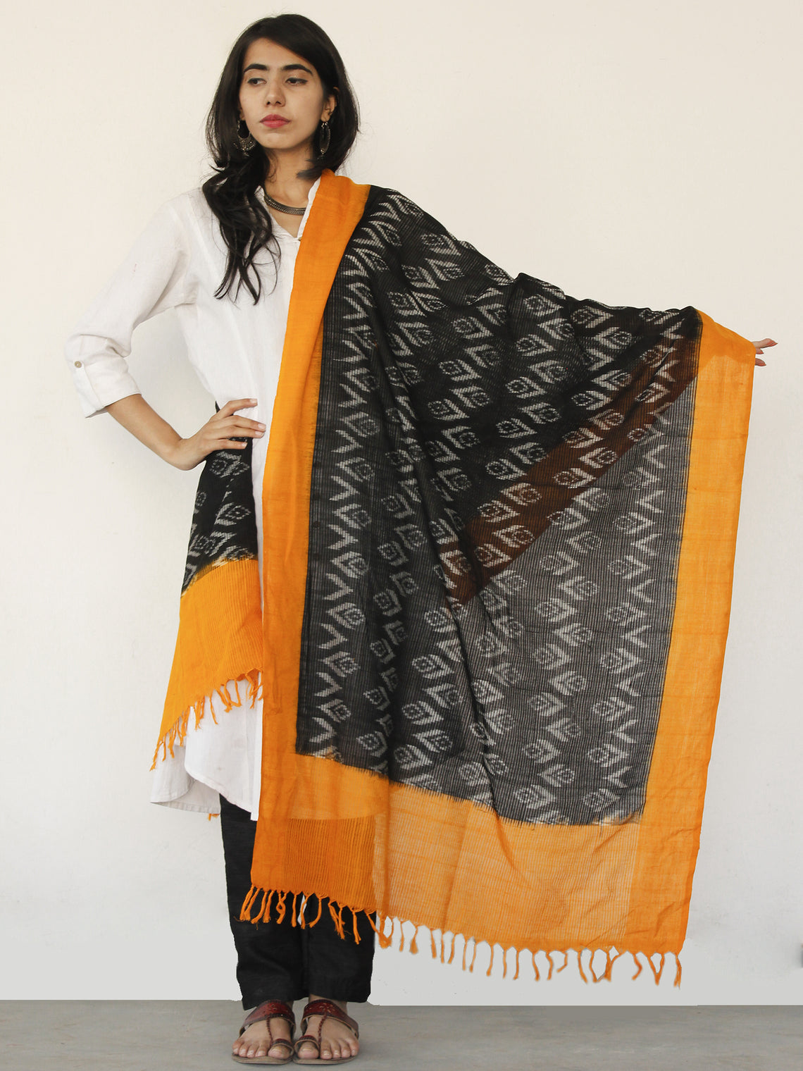 Rust Orange Black Ikat Handwoven Pochampally Cotton Dupatta -  D04170147