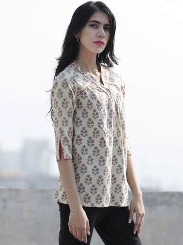 Ivory Red Grey Green Hand Block Printed Cotton Top - T31F546