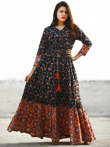 Indigo Brown Red Blue Hand Block Printed Long Cotton Dress With Tie Up Waist and Tassels -  D170F1139
