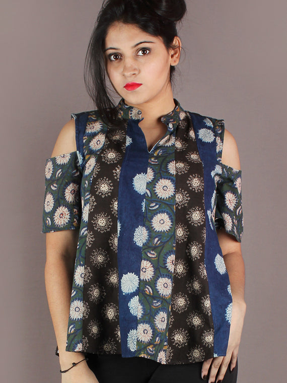 Multi Colour Hand Block Printed Cotton Top With Cold Shoulders - T11640018