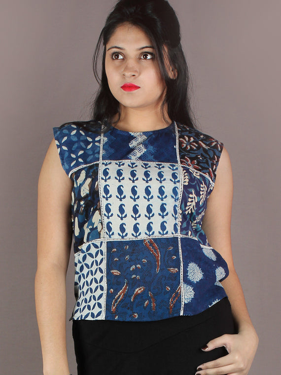 Indigo White Maroon Colour Hand Block Printed Cotton Top - T11640019