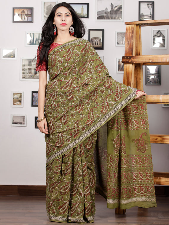 Olive Green Maroon Ivory Black Hand Block Printed Cotton Mul Saree - S031703000
