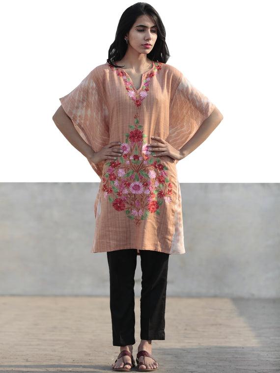 Beige Pink Red Green Aari Embroidered Short Kashmere Kaftan  - K11K050