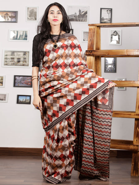 Beige Brown Red Black Hand Block Printed Cotton Mul Saree - S031703009