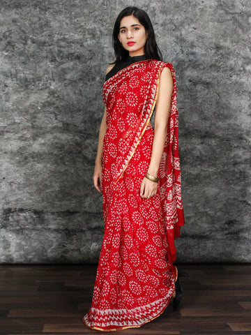 Red White Hand Block Printed Chiffon Saree with Zari Border - S031703123