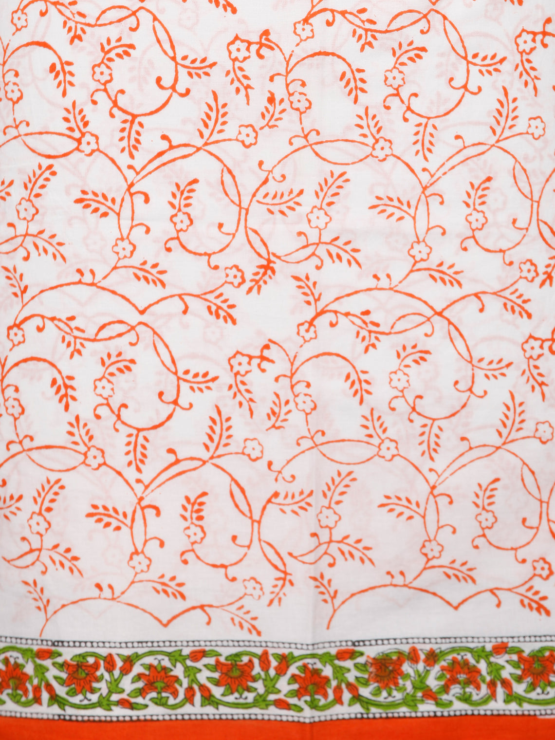 White Orange Green Hand Block Printed Cotton Suit-Salwar Fabric With Chiffon Dupatta (Set of 3) - SU01HB383