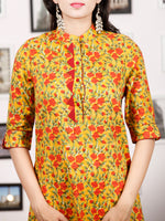 Mustard Yellow Rust Green Hand Block Printed Kurta - K82F1487