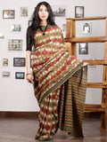 Olive Green Maroon Black Ivory Hand Block Printed Cotton Mul Saree - S031703010