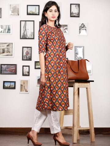 Indigo Peanut Brown Maroon Ivory Hand Block Printed Kurta in Natural Colors - K83F1152