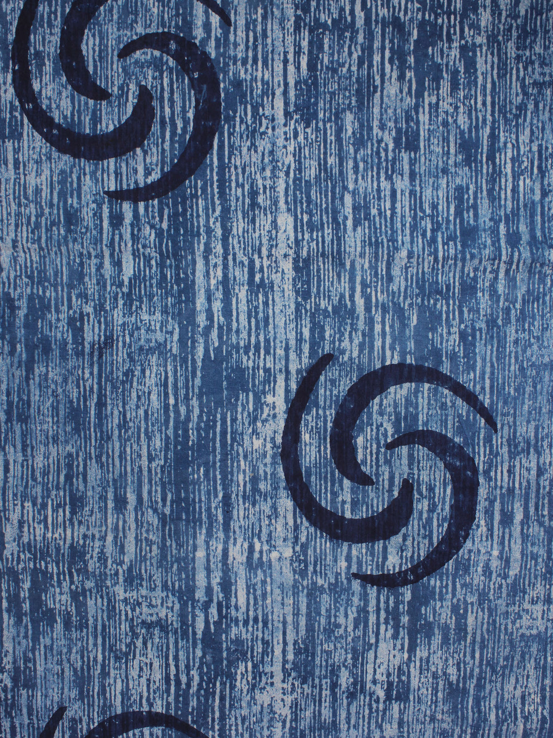 Indigo Blue Natural Dyed Hand Block Printed Cotton Fabric Per Meter - F0916318