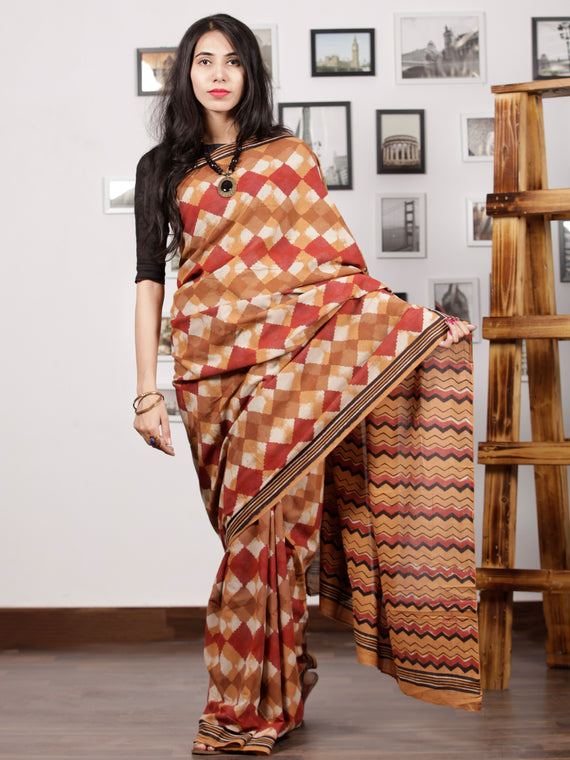Brown Maroon Ivory Black Hand Block Printed Cotton Mul Saree - S031703011