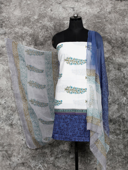 White Indigo SkyBlue  Hand Block Printed Cotton Suit-Salwar Fabric With Chiffon Dupatta (Set of 3) - SU01HB385