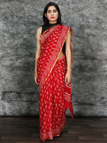 Red White Hand Block Printed Chiffon Saree with Zari Border - S031703125
