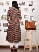 Black Ivory Maroon Indigo Hand Block Printed Kurta With Stand Collar - K84F1484