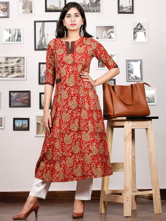 Rust Peanut Brown Black Hand Block Printed Kurta in Natural Colors - K85F1374