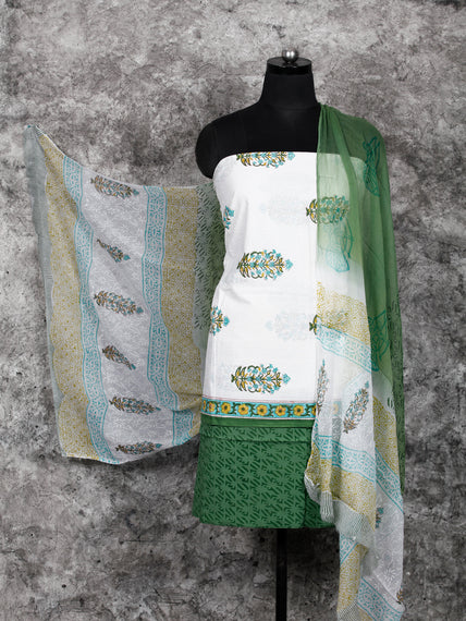 White Green SkyBlue Hand Block Printed Cotton Suit-Salwar Fabric With Chiffon Dupatta (Set of 3) - SU01HB386