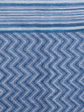 Indigo Blue Ivory Hand Block Printed Kota Doria Saree in Natural Colors - S031703012