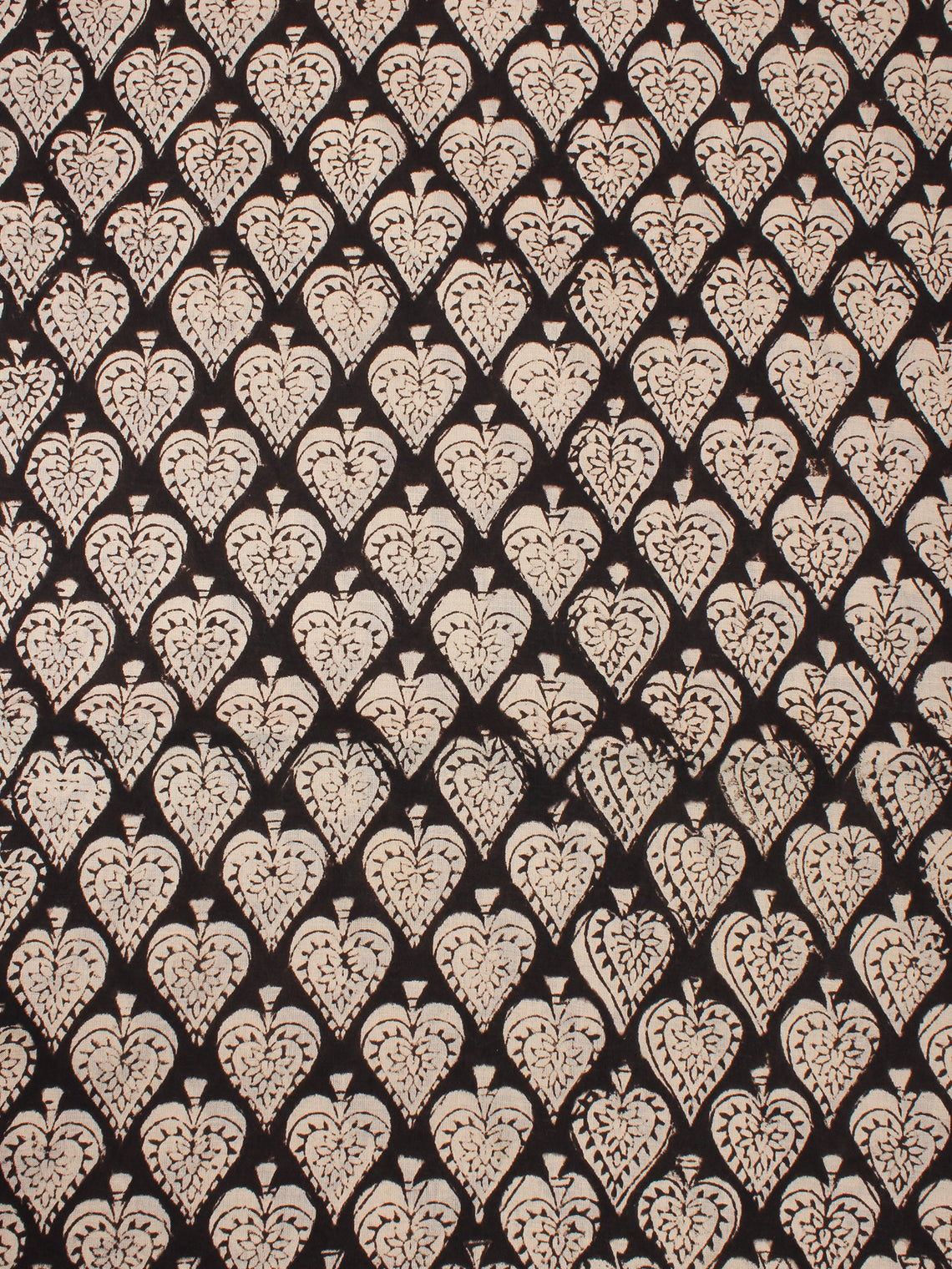 Beige Black Natural Dyed Hand Block Printed Cotton Fabric Per Meter - F0916313