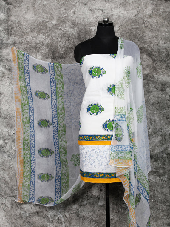 White Green Indigo  Hand Block Printed Cotton Suit-Salwar Fabric With Chiffon Dupatta (Set of 3) - SU01HB387