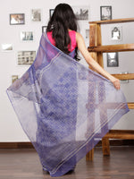 Purple Ivory Hand Block Printed Kota Doria Saree in Natural Colors - S031703013