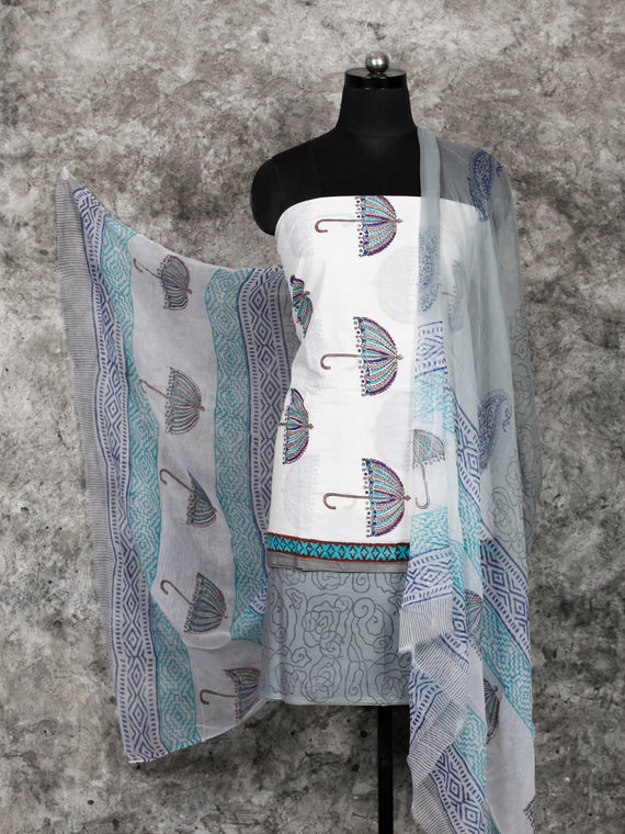 White Grey SkyBlue Hand Block Printed Cotton Suit-Salwar Fabric With Chiffon Dupatta (Set of 3) - SU01HB388