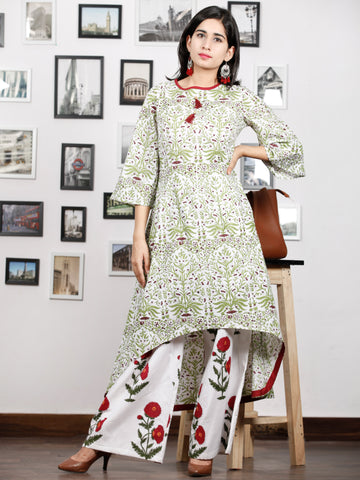 White Green Maroon Hand Block Printed Asymmetric Kurta With Culottes (Set of 2) - K87F1494
