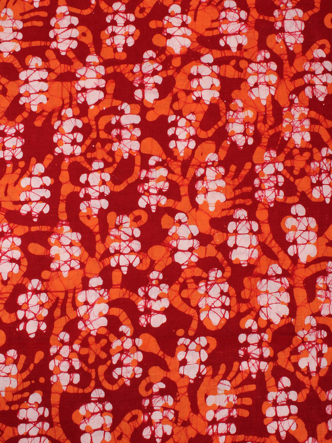 Red White Orange Natural Dyed Hand Block Printed Cotton Fabric Per Meter - F0916311