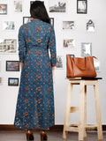 Indigo Rust Green Ivory Hand Block Printed Asymmetric Kurta With Front Open - K88F1319