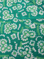 Green White Hand Block Printed Cotton Fabric Per Meter - F0916323