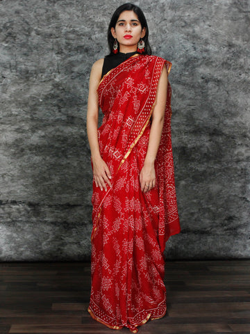 Red White Hand Block Printed Chiffon Saree with Zari Border - S031703129
