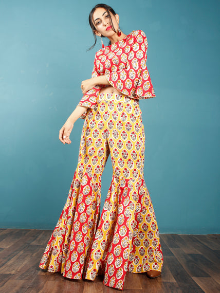 Red Yellow White Indigo Hand Block Printed Crop Top And Sharara Dress (Set of 2) - D250F774