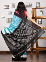 Sky Blue Ivory Black Ikat Handwoven Pochampally Mercerized Cotton Saree - S031701578