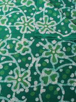 Green White Hand Block Printed Cotton Fabric Per Meter - F0916322