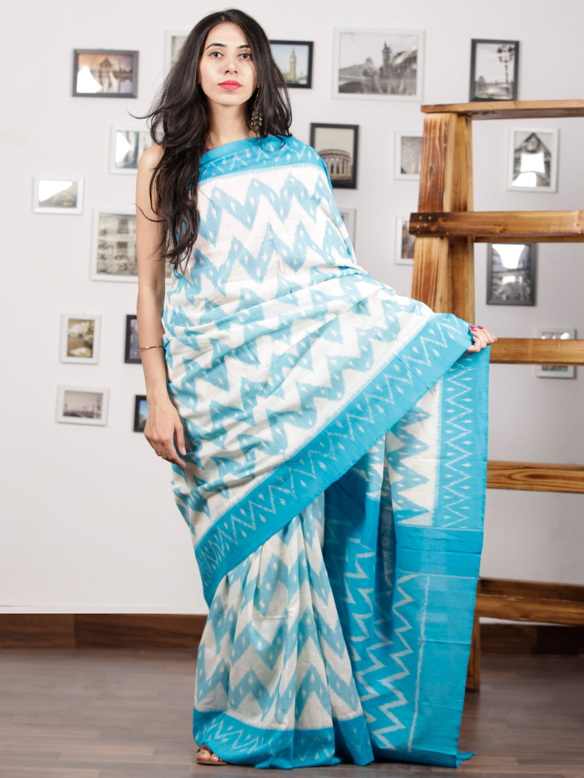 Sky Blue White Ikat Handwoven Pochampally Mercerized Cotton Saree - S031701415