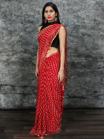 Red White Hand Block Printed Chiffon Saree with Zari Border - S031703130