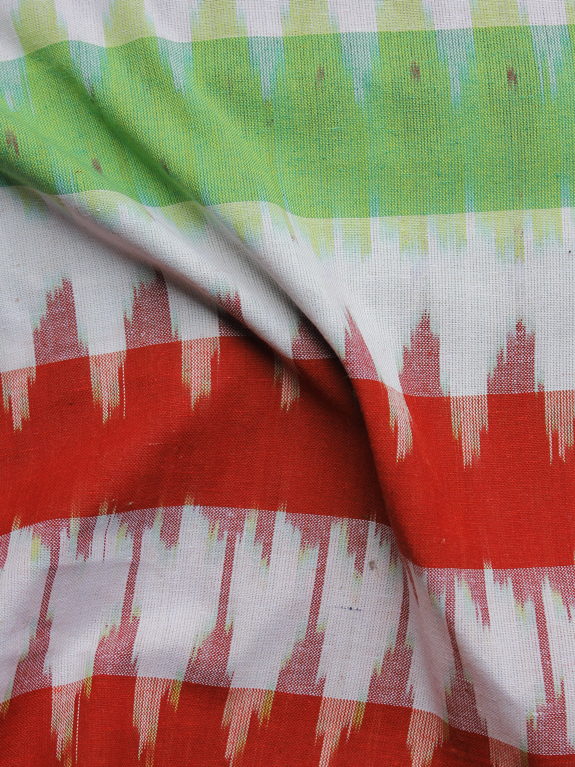 Green Red White Pochampally Hand Woven Ikat Fabric Per Meter - F002F977