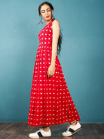 Red White Long Sleeveless Handwoven Double Ikat Dress With Knife Pleats & Side Pockets - D32F1018