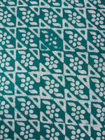 Green White Hand Block Printed Cotton Fabric Per Meter - F0916321