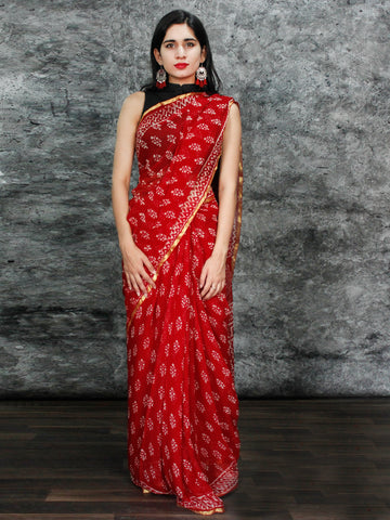 Red White Hand Block Printed Chiffon Saree with Zari Border - S031703131