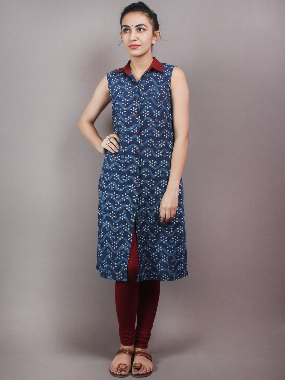 Indigo Ivory Maroon Hand Block Printed Kurti With Open Front With Buttons - K02A17001
